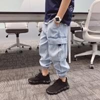夏季儿童装男童牛仔工装裤潮宝宝清凉薄长裤子