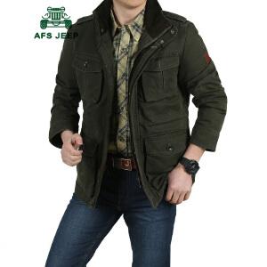 战地吉普AFS JEEP男士水洗大码夹克 中长款立领加肥加大码夹克衫外套 从M到8XL 300斤左右男子可穿