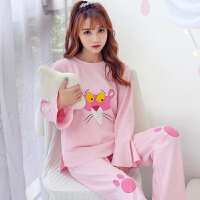 睡衣女秋长袖韩版公主风春秋季可外穿全棉休闲冬款家居服套装