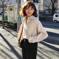 三木子快时尚女装~韩版休闲百搭宽松纯色简约衬衫