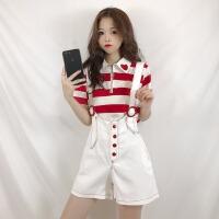 套装女春季新款韩版条纹POLO领口爱心短袖T恤宽松显瘦背带短裤子