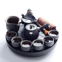 【新品】 粗陶陶瓷干泡茶盘套装茶海 黑陶紫砂功夫茶具套装家用