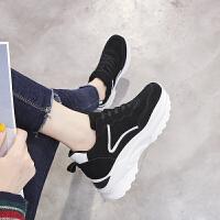 ZHR2018秋冬季新款内增高休闲运动鞋超火真皮女鞋百搭韩版老爹鞋