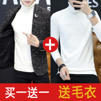西装男士外套休闲小西服男修身青年帅气韩版男装冬季加绒单西潮流 +白毛衣