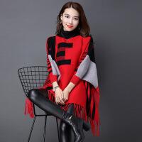 秋冬季新款流苏针织衫斗篷披肩蝙蝠袖外套中长款套头毛衣女装 X