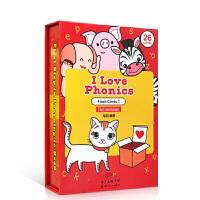英文儿童启蒙认知闪卡 I Love Phonics Flash cards 1 自然拼读闪卡红盒装 毛妈Carol推荐