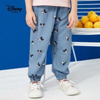 迪士尼男童长裤洋气灯笼裤2021夏季新款儿童休闲轻薄裤子