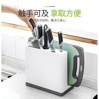 厨房用品刀架置物架多功能刀具收纳架砧板架可沥水多用菜刀架刀座 通风沥水 可拆卸易清洗