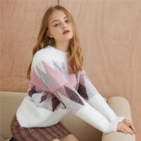 【2件3折】ONE MORE2019秋冬新格纹毛衣复古毛绒亮丝甜美长袖针织衫上衣女