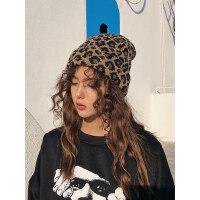 豹纹毛线帽秋冬天女包头ins日系百搭复古针织帽情侣韩国潮流帽