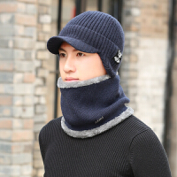 毛线帽子冬季男士加绒加厚护耳防寒鸭舌帽潮户外骑行针织保暖棉帽