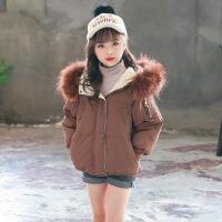 女童冬装外套韩版新款儿童棉衣中大童洋气加厚小女孩短款 焦糖色 110cm