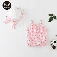 3-6月婴幼儿外出服吊带包屁衣三角哈衣婴儿宝宝薄款衣服