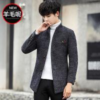秋冬季风衣男士加绒加厚呢子大衣男韩版中长款毛呢青年修身潮外套