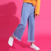 女童牛仔裤长裤春秋女中大童洋气阔腿裤宽松儿童休闲裤子