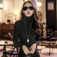 金银丝高领打底衫女装韩版秋冬加绒修身亮丝T恤网纱上衣蕾丝衫潮