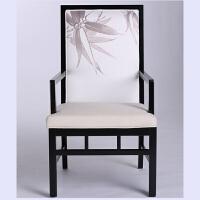 【热卖新品】新中式家具实木现代中式靠背椅黑色茶楼售楼处会所样板房接待椅