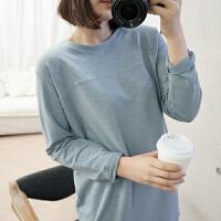 韩国女装代宽松纯棉竹节毛圈中长款秋冬卫衣女套头长袖打底t恤