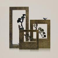欧式迎客松鸟方框镂空工艺摆件办公室家居奢华装饰品创意板房摆设