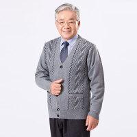 秋季新款爸爸V领针织开衫中老年男毛衣外套线衣爷爷先生男装线衫