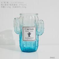仙人掌玻璃花瓶装饰品摆件创意家居客厅干花插花花器餐桌小摆设
