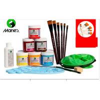 马利1100丙烯颜料墙绘 手绘套装 丙烯颜料+画笔+水桶+调色板