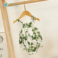0-6个月女宝宝包屁衣洋气婴儿外出服婴儿薄款夏装衣服三角哈衣