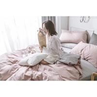 欧式抖音少女床单四件套纯棉全棉网红水洗棉被套宿舍床上三件套定制 浅粉色 浅粉格子+浅灰