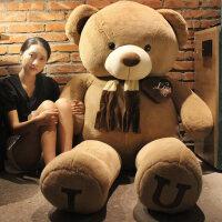 正版泰迪熊公仔抱抱熊大熊围巾熊布娃娃玩偶毛绒玩具生日礼物女生