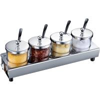 创意不锈钢调味罐 套装调料盒家用调料罐玻璃调味瓶厨房佐料盐罐