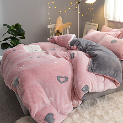 四件套双面绒被套水晶床单床上三件套