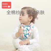 babycare宝宝口水巾纯棉纱布婴儿三角巾 口水围兜360度防水围嘴