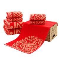 纯棉红色三件套对角喜面巾结婚喜庆枕巾毛巾浴巾套装礼盒装定制 75x34cm