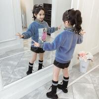 2019秋冬季新款韩版儿童洋气女孩中长款上衣女童冬装卫衣