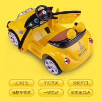 儿童电动车摇摆童车带遥控1-4岁婴幼儿玩具车可坐人四轮小黄人车zf10 黄色