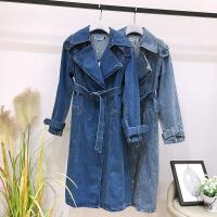 2018冬季新款女装韩版西装领双排扣中长款牛仔长袖外套KY 深蓝色