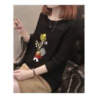秋装新款韩版圆领镂空勾花针织衫女装套头毛衣卡通宽松打底衫