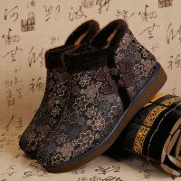 老北京布鞋女棉鞋冬季加绒保暖平底妈妈鞋中老年人软底老人鞋 F-6棕色