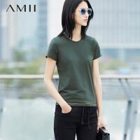 【到手价47元】 Amii[极简主义]夏秋女百搭黑金条纹拼接圆领大码T恤11680334