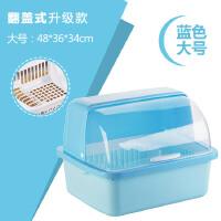 厨房沥水碗架带盖塑料碗柜碗筷餐具收纳盒放碗碟架滴水碗盘置物架