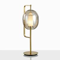 后现代五金玻璃设计师样板间台灯美式简约书房卧室床头时尚台灯