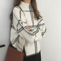 半高领格子宽松套头针织衫女秋冬季新款韩版百搭学生毛衣上衣 均码