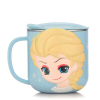 家用喝水杯学生不锈钢茶杯办公室带盖手柄咖啡杯儿童马克杯