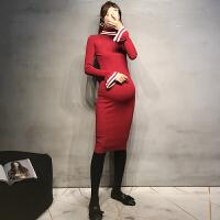 孕妇连衣裙秋冬高领打底衫潮妈修身针织长裙中长款喇叭袖毛衣裙潮 均码