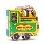 英文原版 迷你玩具车The Mini-Express 迷你玩具书系列 蒸汽火车 小车子 造型书 车轮滚动 卡板书 纸板