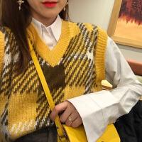 秋装韩国减龄百搭款领拼色重工宽松套头针织背心马甲女 黄色 均码