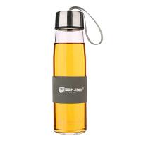 天喜(TIANXI)玻璃杯 男女士带盖耐热办公杯子 创意车载透明便携水杯