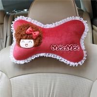 汽车头枕护颈枕骨头枕可爱卡通四季车用靠枕车枕头一对装