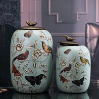 欧式陶瓷储物罐带盖防虫简约茶叶罐大号糖果罐子美式创意摆件多款