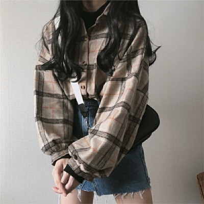 春季韩国女装复古chic加厚格子衬衫外套宽松百搭中长款长袖衬衣